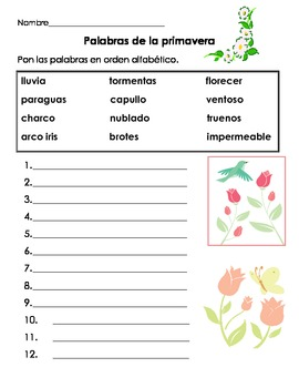 Spring Primavera ABC Order and Poems in Spanish