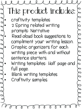 Spring / Primavera- Narrative Writing Craftivity - Spanish