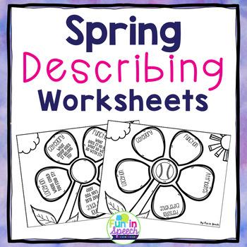 Spring Print & Go Describing Worksheets