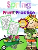 Spring Print & Practice (literacy & math printables for kinder)