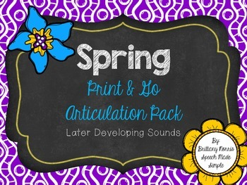 Spring Print and Go Articulation Pack Later Developing Sounds