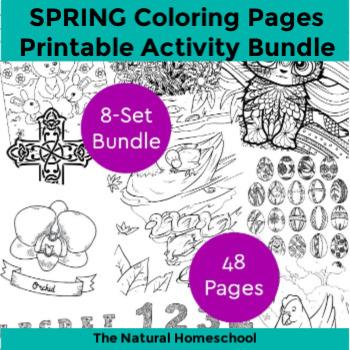 Spring Printable Coloring Pages for Kids ~ 8-Set Bundle