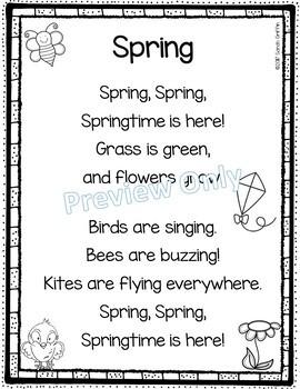 Spring - Printable Poem for Kids