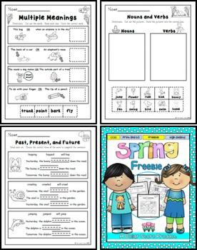 Spring Printables for 1st Grade FREE (ELA)