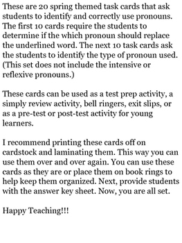 Pronouns Task Cards: Spring Themed