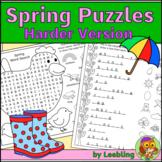 Spring Puzzle Activities, Harder Version - Crossword, Word
