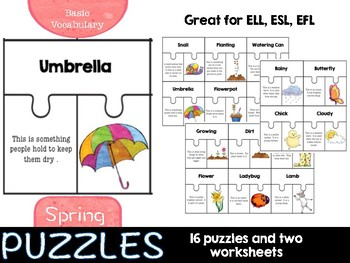 Spring Puzzles (basic vocabulary practice)