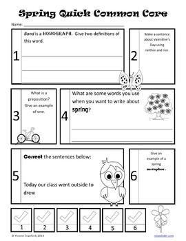 Spring No Prep Common Core Literacy (5th grade)