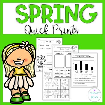 Spring Math and Language Worksheets  - Grade 1