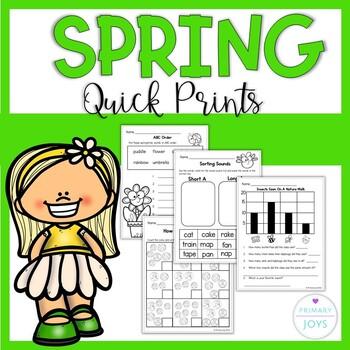 Spring Math and Language Worksheets  - Grade 1