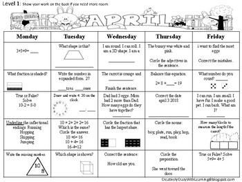 Spring Quick Review Calendar FREEBIE