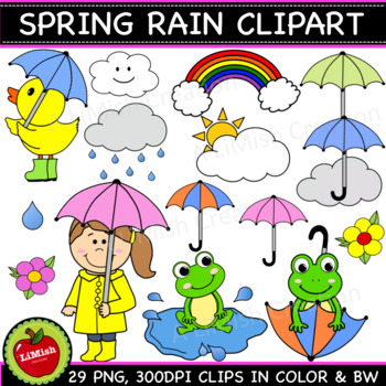 Spring Rain Clip Art Set / Spring Showers Clip Art Set