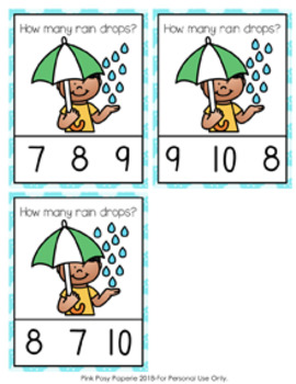 Spring Rain Drops Count and Clip Cards