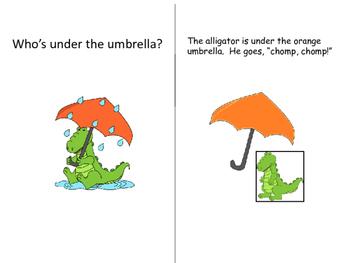 """Who's Under the Umbrella?""  Interactive books (Color and B& W)"