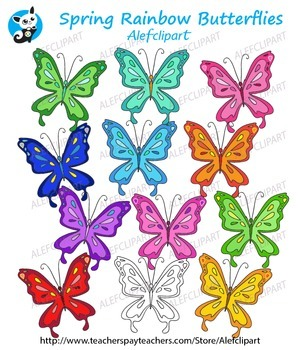 Spring Rainbow Butterflies Digital Clipart Creative Clips Instant Download