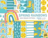 Spring Rainbow Patterns. Raindrop, Umbrella, Cloud, Rain Boot, Weather Paper.
