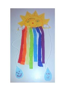 Spring Rainbow Sunshine Raindrops Mobile