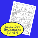 Spring Rainy Day PDF Printable Bookmarks Coloring Activity April Showers