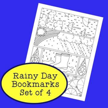 Spring Rainy Day PDF Printable Bookmarks Coloring Activity