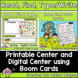 Spring Read, Find, Write/Type Center - Printable and Digit