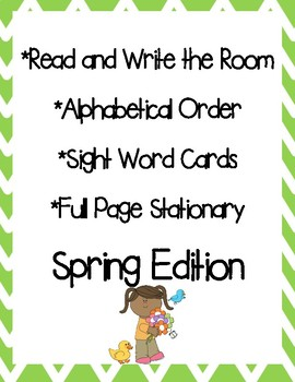 Spring Read and Write the Room, Alphabetical Order and Stationary
