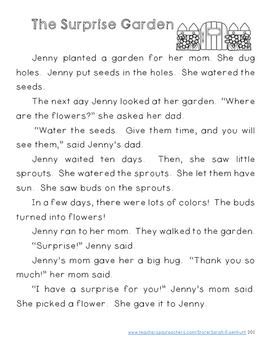 Spring Reading Comprehension First Grade - The Surprise Garden