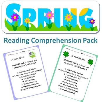 Spring Reading Comprehension Pack, No Prep - Literacy Centers, Subs, Assessments