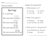 Spring Reading Comprehension Passage Kindergarten FREEBIE