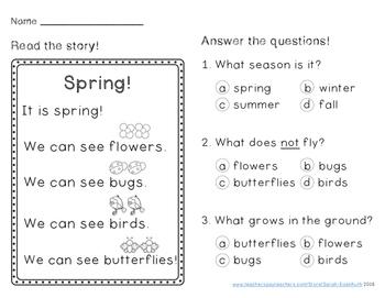 Spring Reading Comprehension Passage Kindergarten FREEBIE