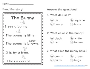 Spring Reading Comprehension Passages Kindergarten