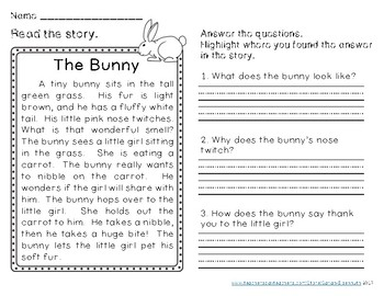 Spring Reading Comprehension Passages Second Grade By