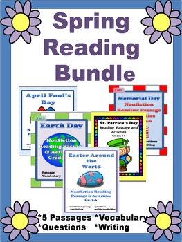 Spring Reading Passages Grades 3-6