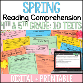 Spring Reading Comprehension Passages and Activities {Just Print}