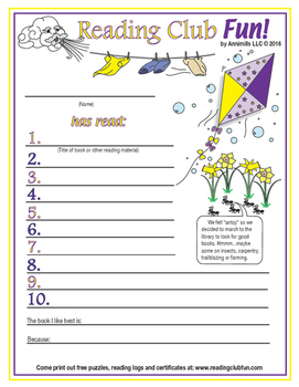 Spring Reading Log and Certificate Set