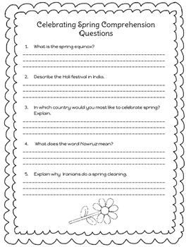Spring Reading Passage and Graphic Organizer