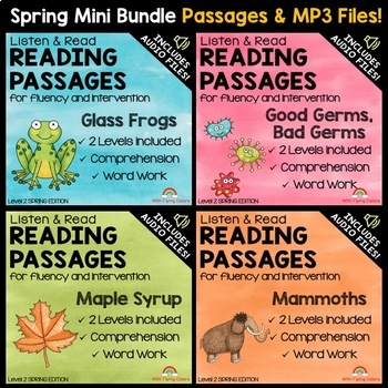 Spring Reading Passages for Intervention with Comprehension and Audio