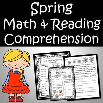 Spring Reading Passages and Math Printables Bundle