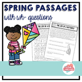 Spring Reading Passages with WH-Questions--Leveled--Distan