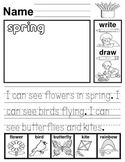 Spring Reading, Writing, Drawing Worksheet