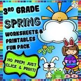 Spring Reading, Writing, Math, Fun Activities & Worksheets- 3rd Grade