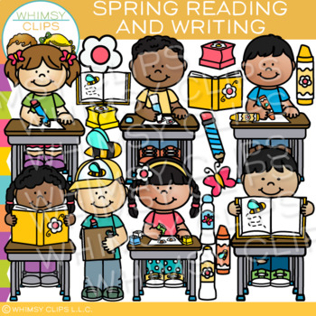 Spring Reading and Writing Clip Art