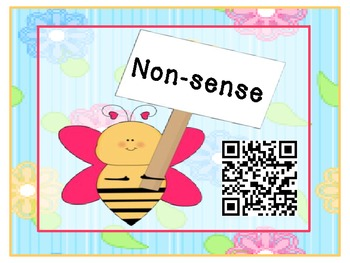 Spring Real Versus Nonsense CVC words with QR codes