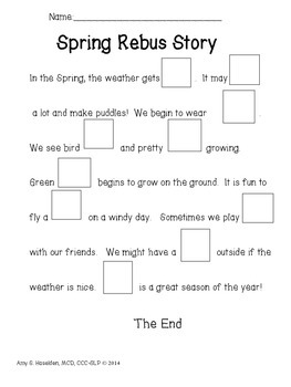 Spring Rebus Story: for Inferencing and Context Clues in Speech Therapy