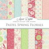 Spring Red & Green Floral Digital Paper patterns Pastel dahlia flower background