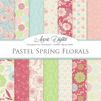 Spring Red & Green Floral Digital Paper patterns Pastel dahlia flower background