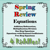 Spring Review 4 Riddle Bundle Equations Math+Riddles=FUN!