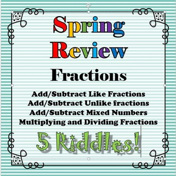 Spring Review 5 Riddle Bundle Fractions Rational Numbers Math+Riddles=FUN!!