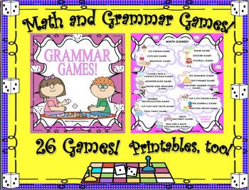 Bundle Math and Grammar Games! Grades 3 - 5