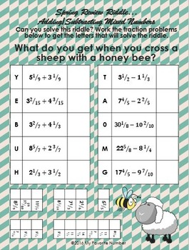 Spring Review Riddle Adding Subtracting Mixed Number Fractions Rational Numbers