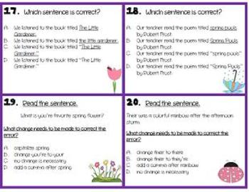 Spring Revising and Editing 28 Task Cards- Writing Test Prep (STAAR)